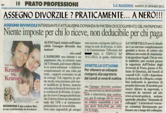 Assegno divorzile? Praticamente… a nero!!!